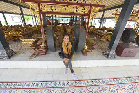 Me sitting in front of the full gamelan instrument set